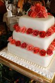picture of three tier  - three tiered square wedding cake - JPG