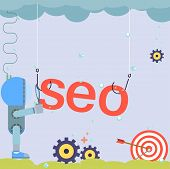 Flat Design Seo Word With Icons Symbols Of Success Internet Searching Web Optimization Process Creat