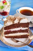 picture of tort  - piece of chocolate and cherry torte with meringues and cup of coffee - JPG