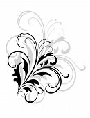 Simple black and white swirling foliate design