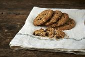 Chocolate Chip Cookies On Withe Cheesecloth