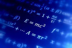stock photo of albert einstein  - Einstein formula of relativity  constant pi area - JPG
