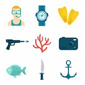 picture of flipper  - Diving scuba flat icons set of diver watch flipper isolated vector illustration - JPG