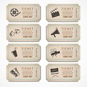 stock photo of popcorn  - Retro movie cinema ticket banners with vintage camera popcorn isolated vector illustration - JPG