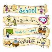 pic of retort  - Four  horizontal school kids education earning creative activities wave ribbon banners sketch doodle vector illustration - JPG