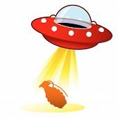 foto of flying saucer  - Hand grenade icon on retro flying saucer UFO with light beam - JPG