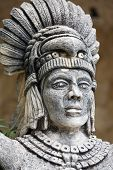 picture of yucatan  - Portrait of stone Mayan warrior on Yucatan Peninsula Mexico - JPG