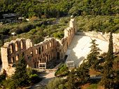 picture of bleachers  - Aerial ruins nature amphitheater amphitheatre Athens Greece - JPG