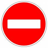 stock photo of no entry  - No entry road sign on white background - JPG