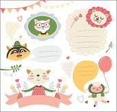 picture of raccoon  - set of cute cartoon animals stickers - JPG