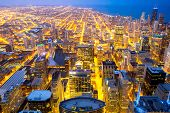 foto of willy  - Aerial view of Chicago city and Lake Michigan - JPG