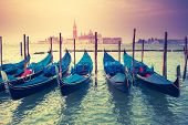 stock photo of church  - Amazing view of Grand Canal at sunset with San Giorgio Maggiore church - JPG