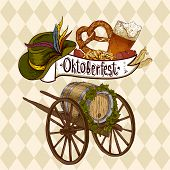 stock photo of pretzels  - Oktoberfest celebration design with Bavarian hat - JPG