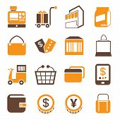 stock photo of bartering  - set of 16 shopping icons - JPG