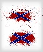 foto of flag confederate  - Two grunge confederate flags - JPG
