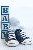 pic of teddy-bear  - Blue denim baby shoes baby blocks and teddy bear - JPG