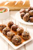 stock photo of meatball  - Meatballs in the tomato sauce - JPG