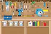 stock photo of workbench  - A Workbench with Cordless Drill - JPG
