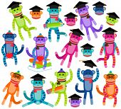 stock photo of sock-monkey  - Vector Collection of Brightly Colored School and Graduation Themed Sock Monkeys - JPG