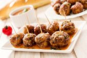 stock photo of meatballs  - Juicy meatballs in the tomato sauce - JPG