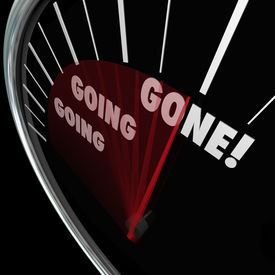 picture of going out business sale  - Going Going Gone words on a speedometer as speed or quick - JPG
