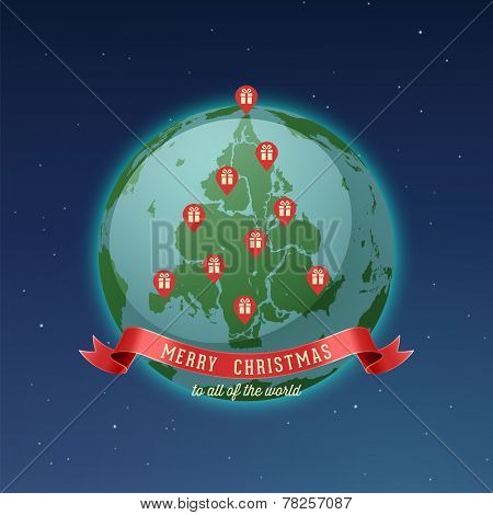 Постер, плакат: Holiday Greeting Card Merry Christmas to all of the world all continents and landmasses fit togeth, холст на подрамнике