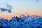 image of mountain sunset  - Mountain inspirational landscape beautiful sunset on Ushba autumn or winter in Caucasus Mountains Russia and Georgia - JPG