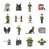 Постер, плакат: Border Guard Icons Flat