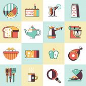 foto of cake-mixer  - Food and cooking icons set of bread egg cake cocktail isolated vector illustration - JPG