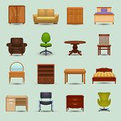 stock photo of wardrobe  - Furniture icons set with desk sofa bookshelf wardrobe office chair isolated vector illustration - JPG
