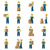 image of fragile sign  - Delivery man courier person with carton boxes icon flat set isolated vector illustration - JPG