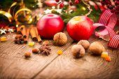 image of hazelnut tree  - Xmas holiday table setting - JPG