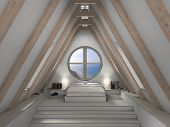 stock photo of attic  - 3D rendering of an attic bedroom with fantastc view - JPG