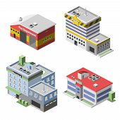 stock photo of fire-station  - Government buildings 3d isometric set with fire department police hospital school isolated vector illustration - JPG