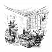 stock photo of interior sketch  - Room interior sketch background with fireplace couch and table vector illustration - JPG