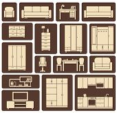 picture of lounge room  - Collection of modern beige furniture and interior items icons in flat design for living room - JPG