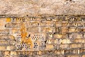 picture of mortar-joint  - The old brick wall with rich texture - JPG