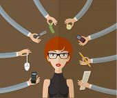 picture of multitasking  - Business concept on hard working and multitasking - JPG