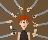 stock photo of multitasking  - Business concept on hard working and multitasking - JPG