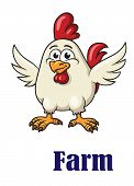 stock photo of spread wings  - Cute little white cartoon character rooster with red crest - JPG