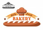 foto of bakeshop  - Bakery emblem or logo in retro style with appetizing crispy french baguette - JPG