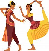 stock photo of east-indian  - Two girls wearing traditional clothing dancing indian dance - JPG