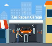 picture of garage  - Cartooned Car Repair Garage  with Signage  Graphic Design with Repairman - JPG
