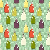 stock photo of fruit shake  - Seamless pattern with hand drawn cartoon doodle bottles with striped straws and fresh drinks on polka dot background - JPG
