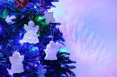 pic of christmas angel  - Knitted Christmas angels on Christmas tree - JPG