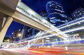 image of hong kong bridge  - traffic in city at night - JPG