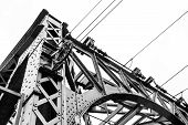 stock photo of girder  - Detail of steel construction of a railway bridge - JPG