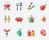 stock photo of pinafore  - Barbecue and grill icon set - JPG