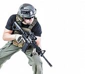 picture of rifle  - Studio shot of private military contractor PMC with assault rifle - JPG