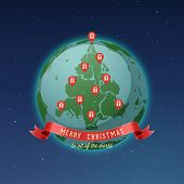 Постер, плакат: Holiday Greeting Card Merry Christmas to all of the world all continents and landmasses fit togeth
